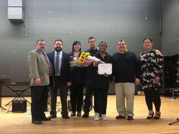 Bridgeport BoE with spelling winner